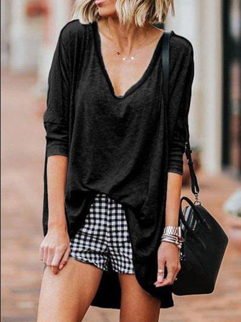 Plain V Neck Cotton Shirts & Tops