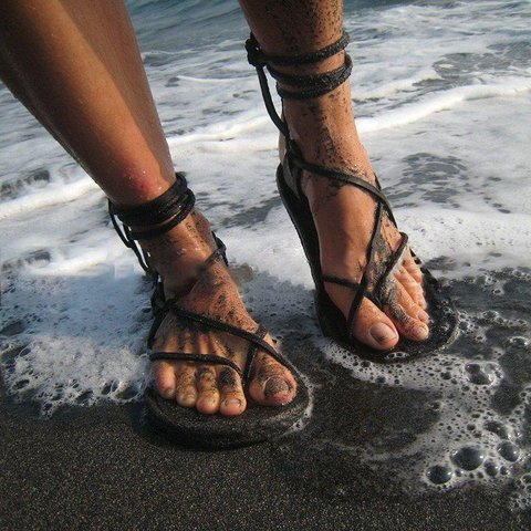 Brown Open Toe Lace-Up Artificial Leather Summer Sandals