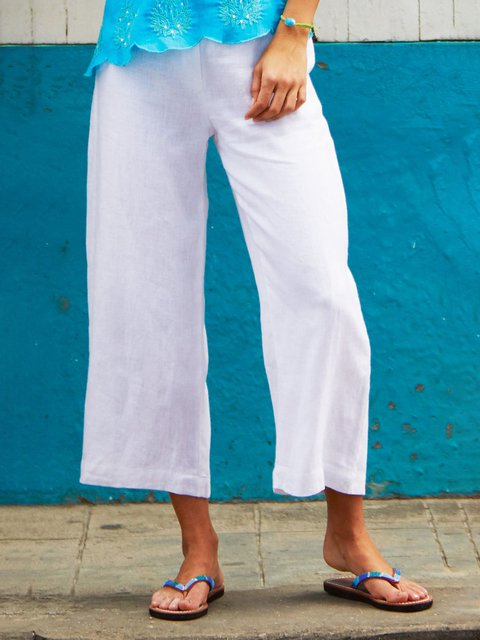 Women Summer Casual Pants Linen Solid Pants
