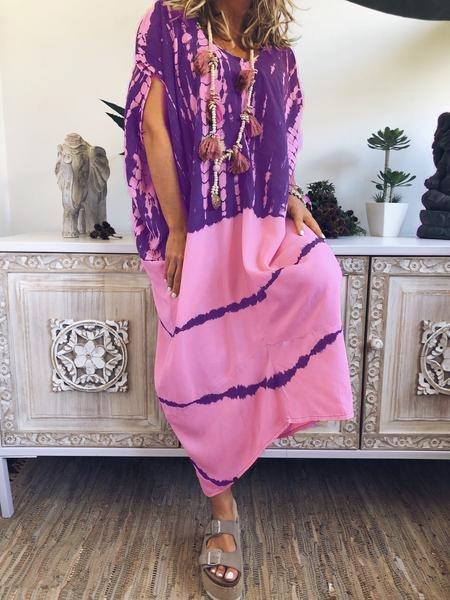 Ombre Color  Tie Dye Maxi Dress