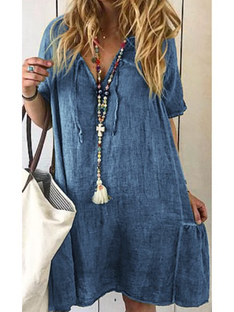 V Neck Women Summer Dresses Holiday Linen Dresses