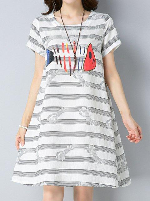 Crew Neck White Women Dresses A-Line Date Animal Dresses