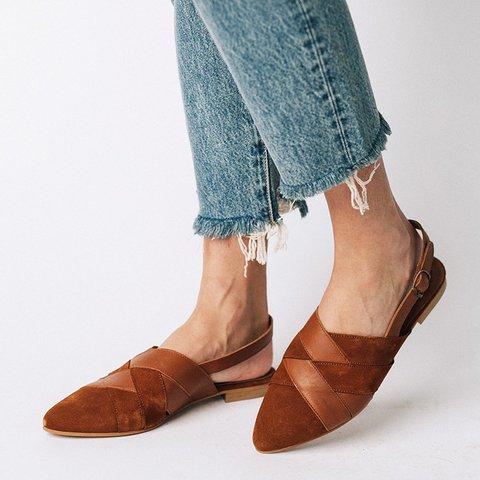 Apricot Flat Heel Closed Toe Women Flat Pumps
