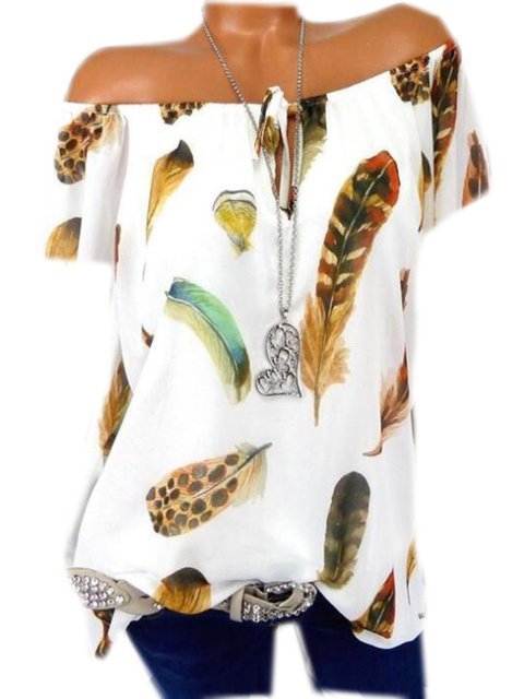 Plus Size Feather Print Women Summer Blouses