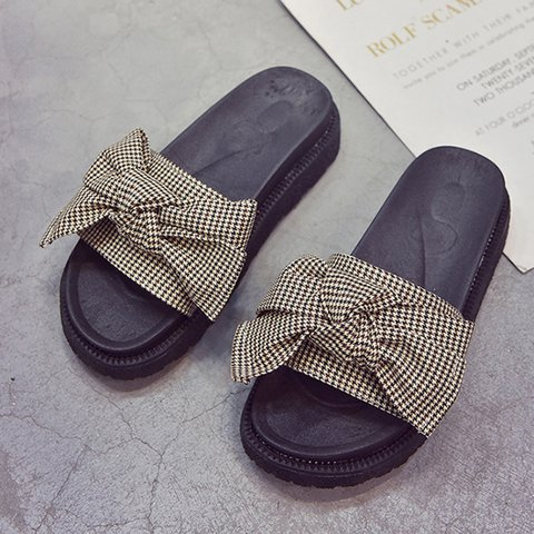 Houndstooth Bowknot Open Toe Slide Sandals