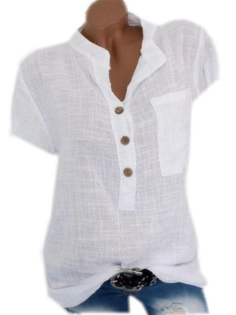 Plus Size Solid Buttoned Women Summer Blouses