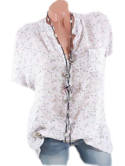 Plus Size Floral Print Women Summer Blouses