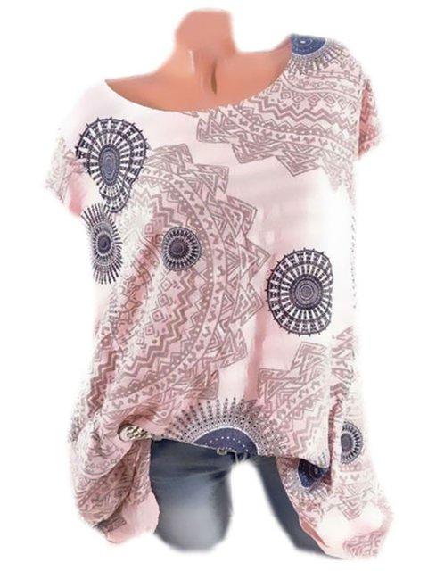 Plus Size Tribal Print Women Summer Blouses