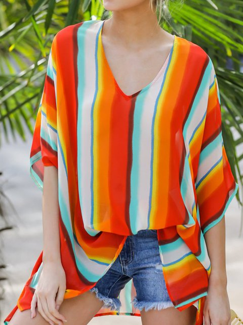 Stripes Cotton Half Sleeve Holiday Tops