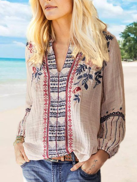Cotton-Blend Casual V Neck Long Sleeve Shirts & Tops