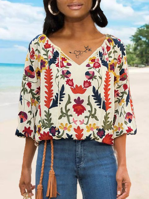 Plus Size 3/4 Sleeve Patchwork Women Summer Blouses