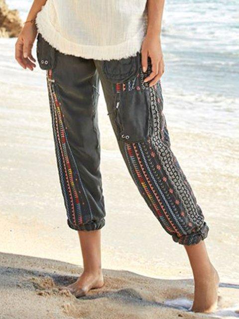 Grey Casual Cotton Pants