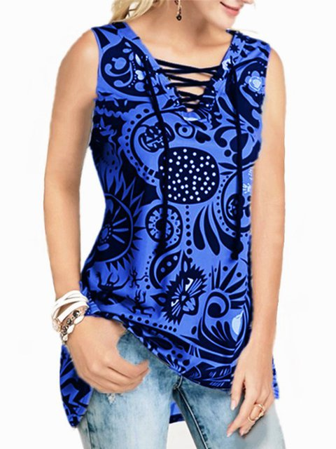 Women's Casual Printed Straps V-Neck Sleeveless Vest