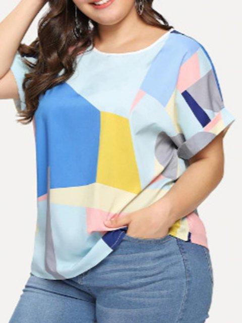 Large Size T-Shirt Women's Summer Loose Chiffon Short Sleeve Color-block Tops