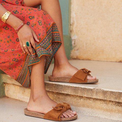 Bowknot Slip-On Flat Boho Slide Sandals