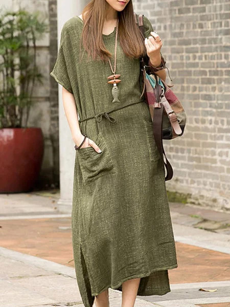 Women Daily Short Sleeve Cotton Pockets Solid Casual Dress