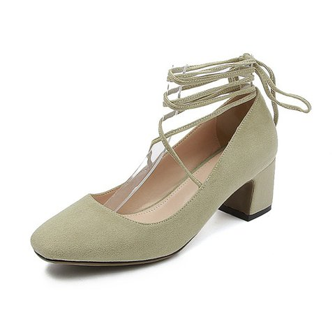 Women Casual Suede Sandals Lace Up Chunky Heel Pumps