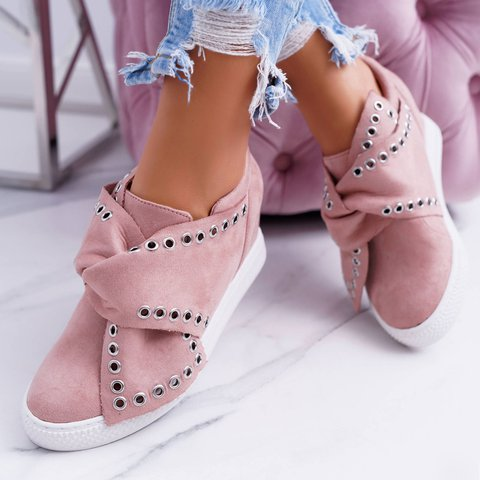 Women Bowknot Wedge Sneakers Suede Shoes