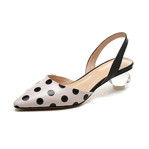 Polka Dots Genuine Leather Special Heel Date Sandals