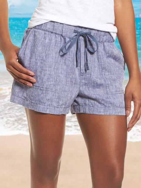 Women Summer Casual Pants Linen Casual Shorts