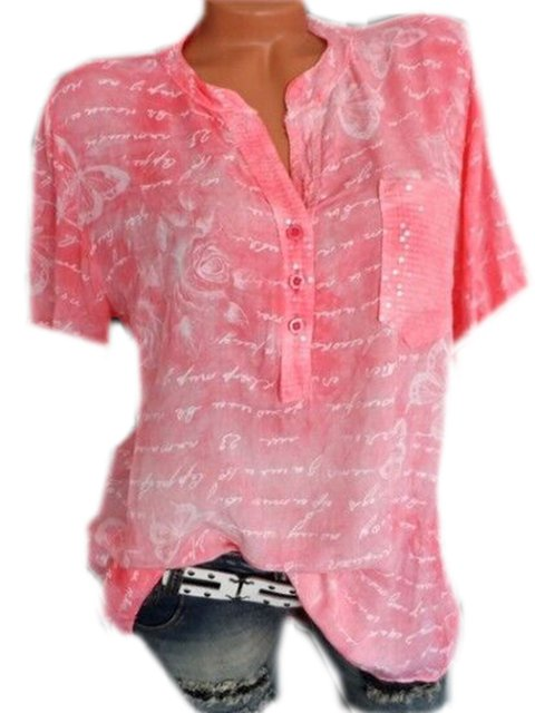 Plus Size Letter Print Women Summer Blouses