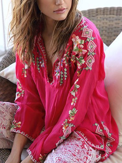 Women Tops V-Neck Floral Long Sleeves Sweet Blouses