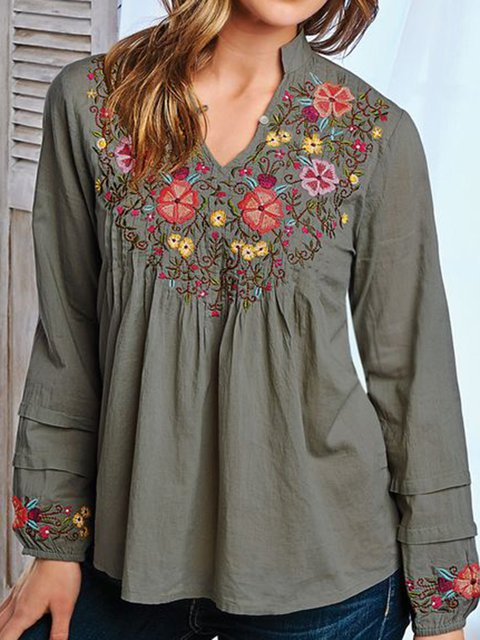 aeb7f0f4e26 Women Blouses Long Sleeve V-Neck Floral Tops - JustFashionNow.com