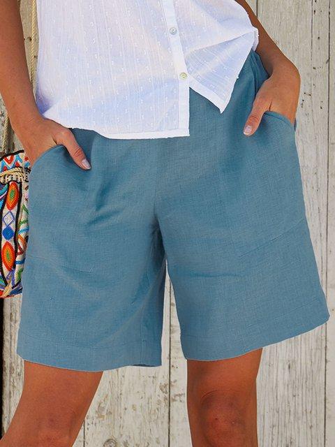 Plus Size Linen Women Summer Shorts Pants With Pockets