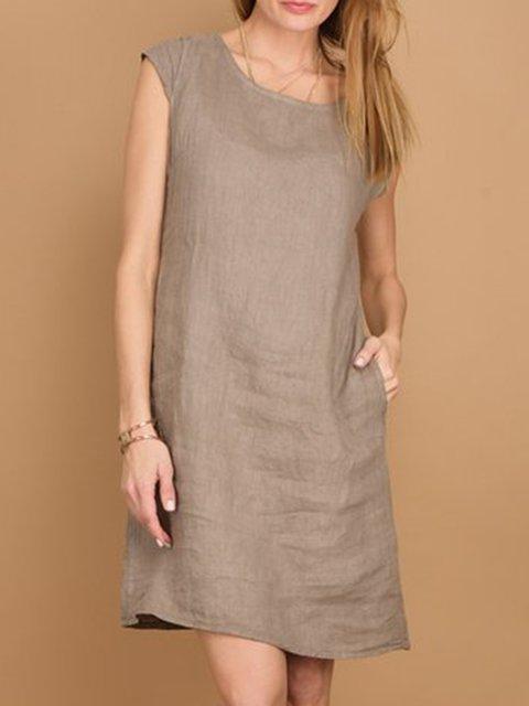 Women's Breathable Linen Cap-Sleeve Dress Plus Sizes Casual Round Neck Dresses