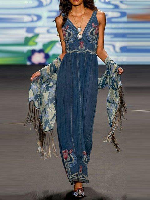 Blue Color-Block Sleeveless Cotton-Blend Dresses