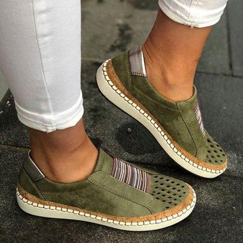 Women Slide Hollow-Out Round Toe Casual Sneakers