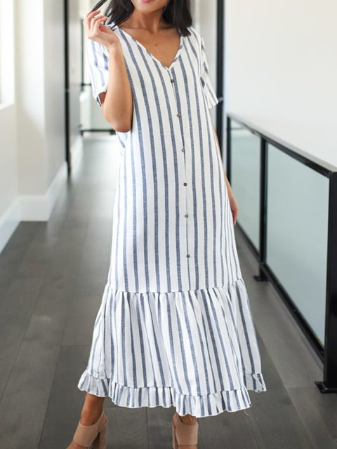 Printed Striped V Neck Shift Sweet Linen Summer Dresses