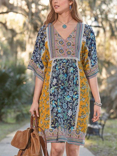 V Neck Floral Casual Cotton-Blend Dresses