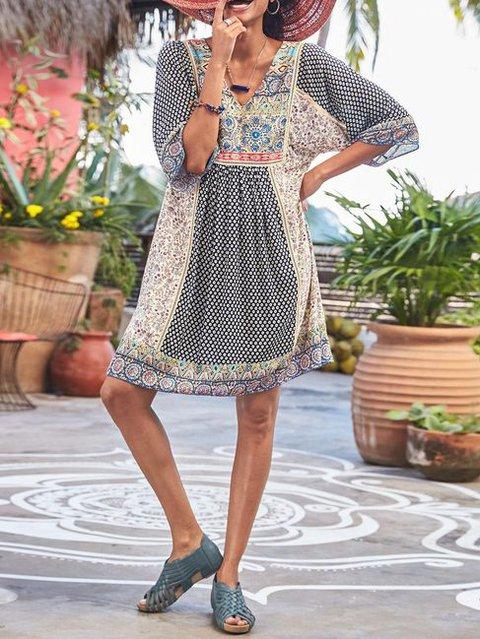 Floral Cotton-Blend Casual Dresses