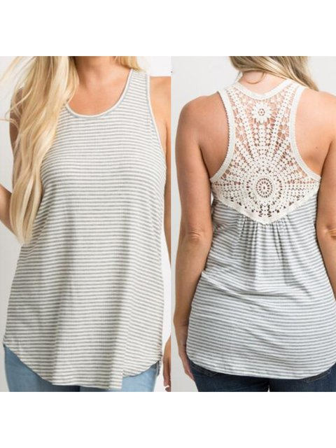 Women's Casual Stripe Stitching Lace Maternity Vest
