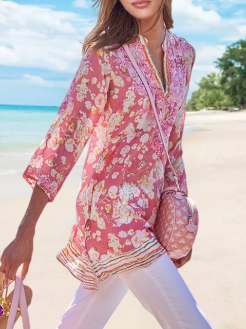 Plus Size Floral-Print Half Sleeve Women Summer Blouses