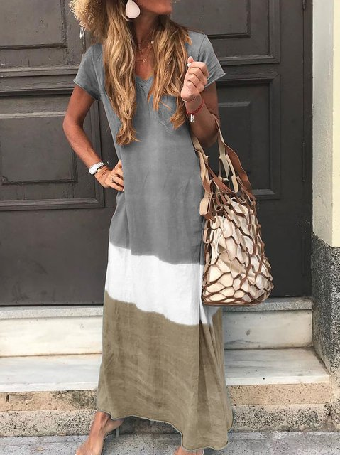 Women Tie-dyed V Neck Linen Short Sleeve Maxi Dress