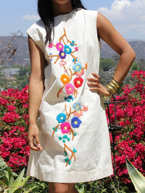 Women Floral Dress Crew Neck Sleeveless Shift Dresses