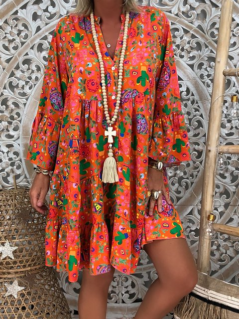 V Neck Abstract Shift Dresses