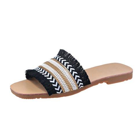 Women Tassel Boho Flat Heel Casual Slide Sandals