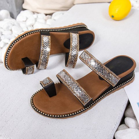 Women Casual Low Wedge Toe Ring Sandals