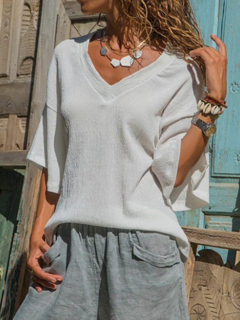 White V Neck 3/4 Sleeve Frill Sleeve  Casual T-Shirt