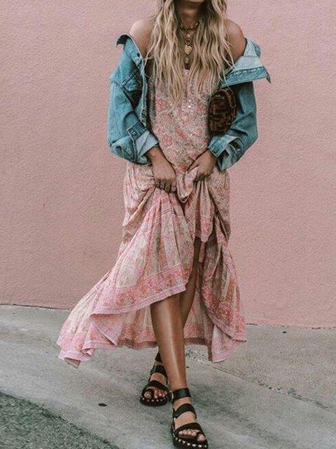 Square Neck Pink Women Dresses Swing Boho Floral Dresses