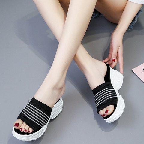 Women Striped Wedge Heel Summer Slippers
