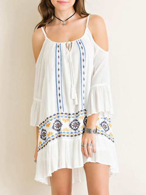 Spaghetti White Dresses Flounce Daytime Cotton Embroidered Dresses