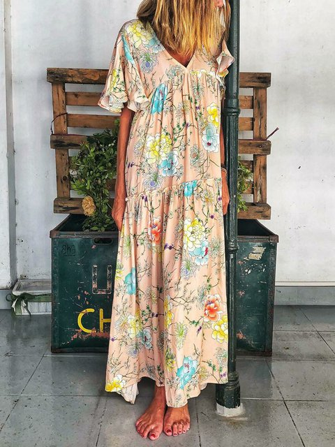 V Neck Women Floral Dresses Holiday Casual Floral-Print Dresses