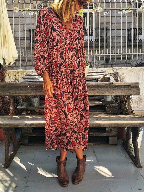 V Neck Women Floral Dresses Cotton Floral Dresses