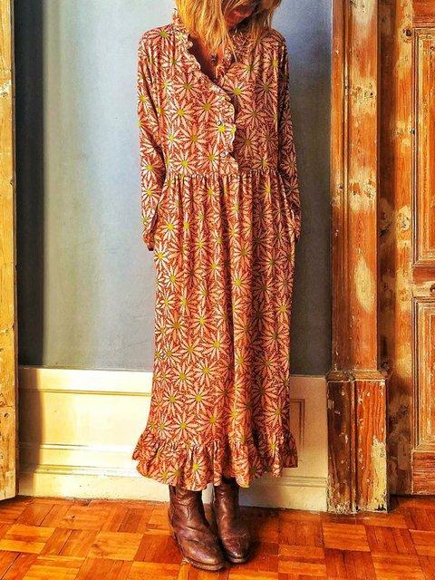 V Neck Women Summer Dresses Holiday Paneled Floral Dresses
