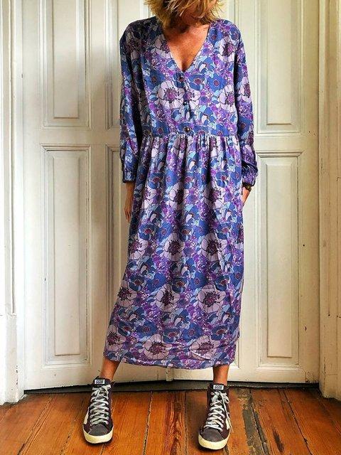 V Neck Women Floral Dresses Holiday Cotton Floral Dresses