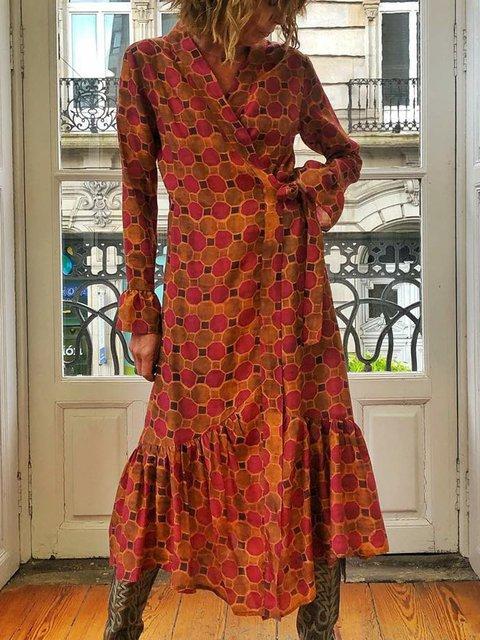 V Neck Women Floral Dresses Holiday Casual Cotton Dresses